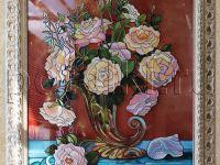 Картина на стекле - Белые розы. .
