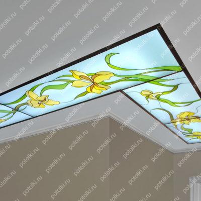 Потолки в технике Контурной заливной Фото